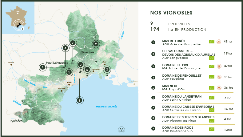 carte des 9 domaines vignobles jeanjean